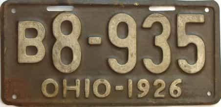 1926 Ohio  (Single) license plate for sale