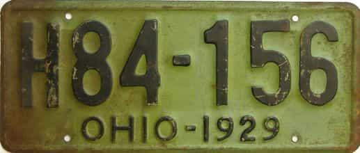 1929 Ohio  (Single) license plate for sale