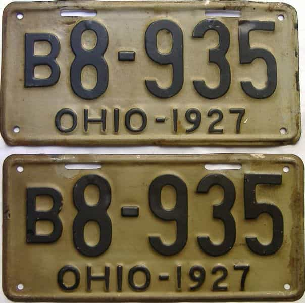 1927 Ohio  (Pair) license plate for sale