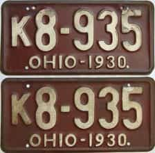 1930 Ohio  (Pair) license plate for sale