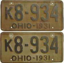1931 Ohio  (Pair) license plate for sale