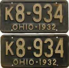 1932 Ohio  (Pair) license plate for sale