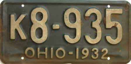1932 Ohio  (Single) license plate for sale