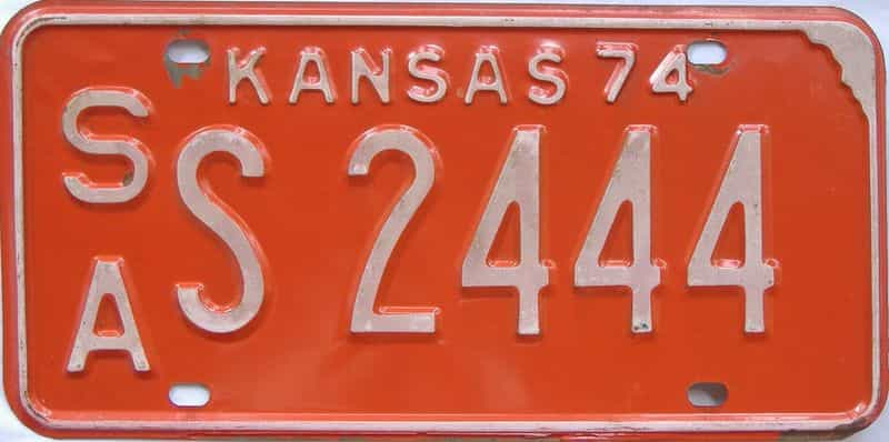 1974 Kansas license plate for sale