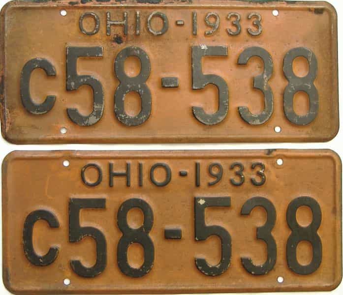 1933 Ohio  (Pair) license plate for sale