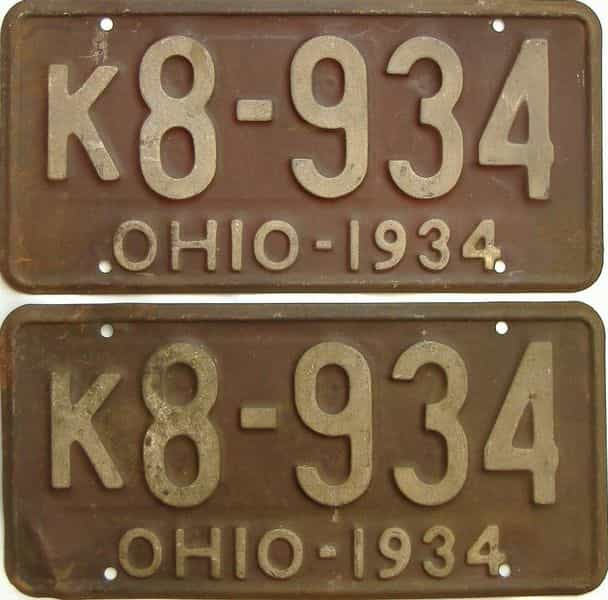 1934 Ohio  (Pair) license plate for sale