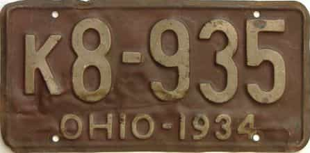 1934 Ohio  (Single) license plate for sale