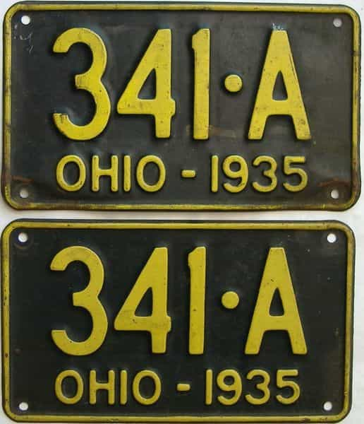 1935 Ohio  (Pair) license plate for sale
