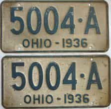 1936 Ohio  (Pair) license plate for sale