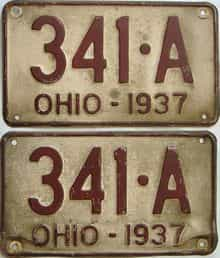 1937 Ohio  (Pair) license plate for sale