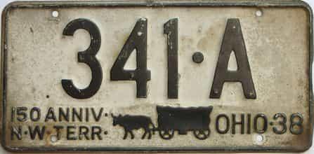 1938 Ohio  (Single) license plate for sale