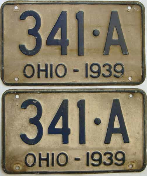 1939 Ohio  (Pair) license plate for sale