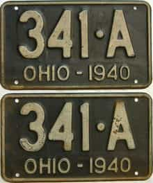 1940 Ohio  (Pair) license plate for sale