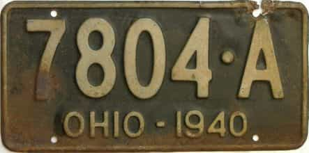 1940 Ohio  (Single) license plate for sale
