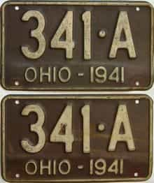 1941 Ohio  (Pair) license plate for sale