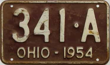 1954 Ohio  (Single) license plate for sale