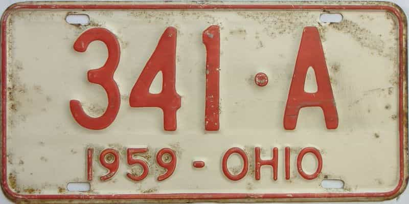 1959 Ohio  (Single) license plate for sale