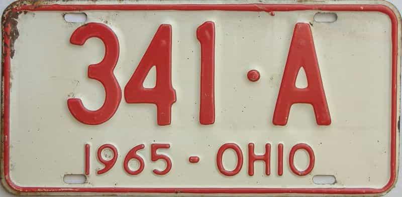 1965 Ohio  (Single) license plate for sale