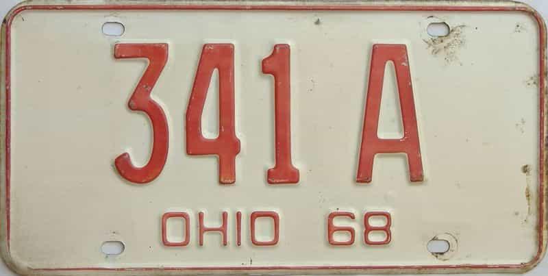 1968 Ohio  (Single) license plate for sale