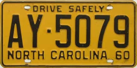 1960 North Carolina license plate for sale