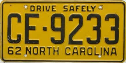 1962 North Carolina license plate for sale