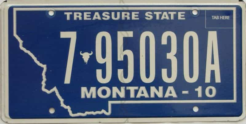 2010 Montana  (Single) license plate for sale