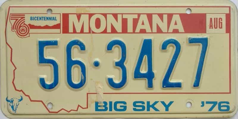 1976 Montana  (Single) license plate for sale