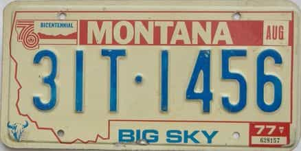 1977 Montana  (Single) license plate for sale