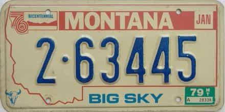 1979 Montana  (Single) license plate for sale