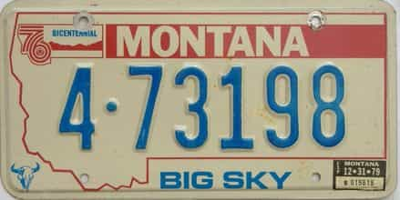 1979 Montana  (Single) license plate for sale