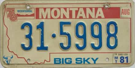 1981 Montana  (Single) license plate for sale