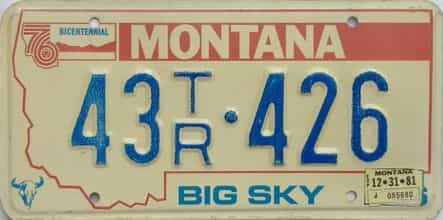 1981 Montana  (Trailer) license plate for sale
