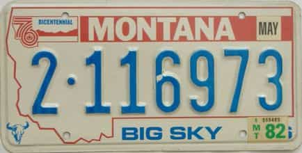 1982 Montana  (Single) license plate for sale