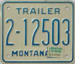 1983 Montana  (Trailer) license plate for sale