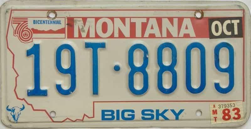 1983 Montana  (Single) license plate for sale