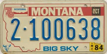 1984 Montana  (Single) license plate for sale