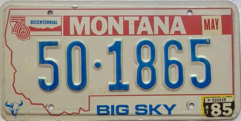 1985 Montana  (Single) license plate for sale