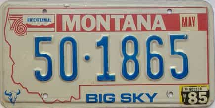 1985 Montana  (Single) license plate for sale