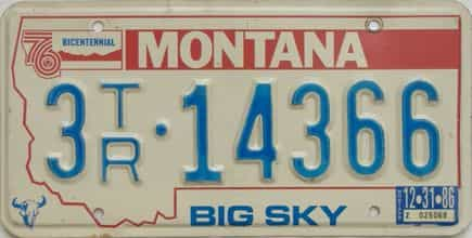 1986 Montana  (Trailer) license plate for sale