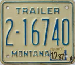 1987 Montana  (Trailer) license plate for sale