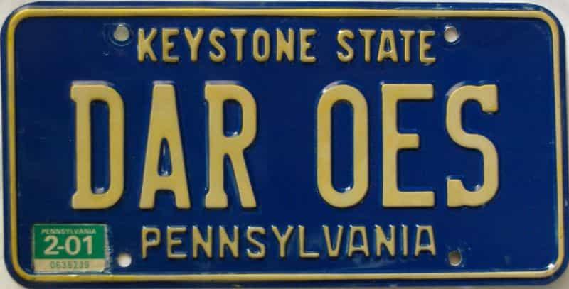 2001 Pennsylvania  (Vanity) license plate for sale