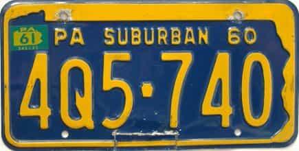 1961 Pennsylvania license plate for sale