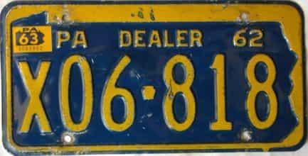 1963 Pennsylvania  (Dealer) license plate for sale