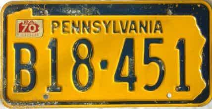 1970 Pennsylvania license plate for sale