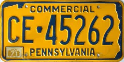 1971 Pennsylvania  (Non Passenger) license plate for sale