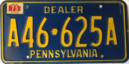 1975 Pennsylvania  (Dealer) license plate for sale