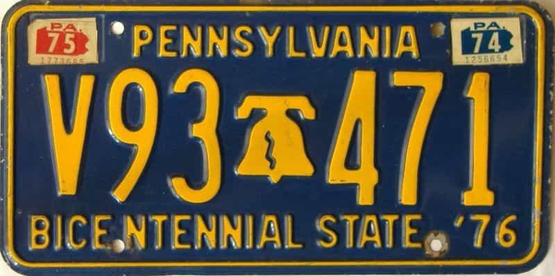 1975 Pennsylvania license plate for sale