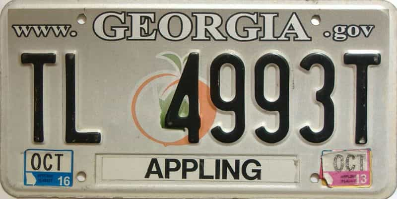 2013 Georgia Counties (Appling) license plate for sale