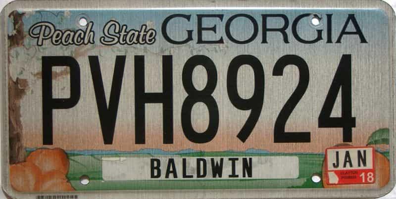 2018 Georgia Counties (Baldwin) license plate for sale