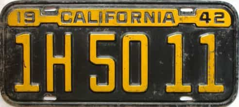 1942 California  (Single) license plate for sale